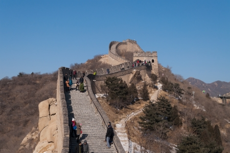 badaling: BEIJING, CHINA - JANUARY 4  Tourists walkl on the Badaling section of the Great Wall  on January 4, 2013, in Beijing  The Great Wall was initially built for military purpose, nowadays it become a popular tourist attraction