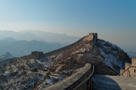 badaling: Great Wall of China in winter  Badaling near Beijing