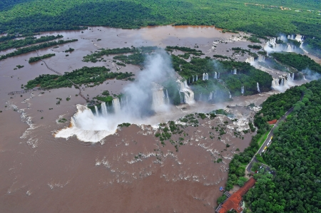 Iguazu waterfalls from helicopter  Border of Brazil and Argentina  photo
