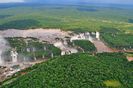 Iguazu waterfalls from helicopter  Border of Brazil and Argentina