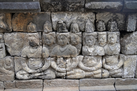Bas-Relief  in Borobudur Temple. Jogjakarta. East Java. Indonesia