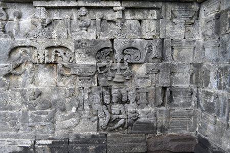 Bas-Relief  in Borobudur Temple. Jogjakarta. East Java. Indonesia