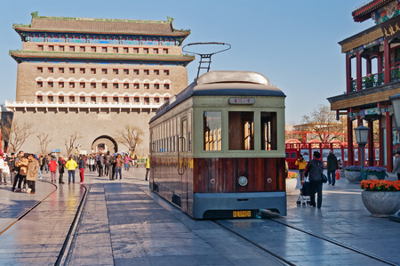EIJING, CHINA - DEC 5  Old tram in Qianmenl street in Beijing on Dec 5, 2013  The earliest tram service in Beijing was 1899 and street cars were the chief form of public transit from 1924 until 1950 Editorial