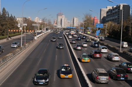 BEIJING, CHINA - DEC 5  Traffic on 3rd Ring Road on Dec 5, 2013  Beijing is the second largest Chinese city by urban population after Shanghai and is the nation