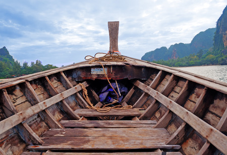 longtail: Head of traditional longtail boat on the Ao Nang. Krabi province. Thailand Stock Photo