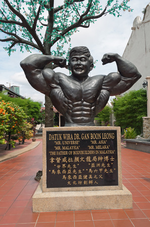 MALACCA, MALAYSIA - DEC 19, 2013: The father of bodybuilders of Malaysia in. Malacca City is the capital city of the Malaysian state of Malacca. It was listed as a UNESCO World Heritage Site on 7 July 2008