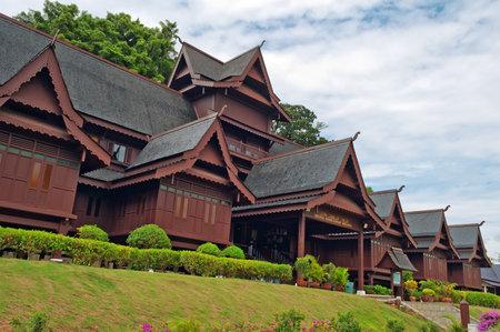 Replica van Melaka Sultante Palace. Malakka. Maleisië Redactioneel
