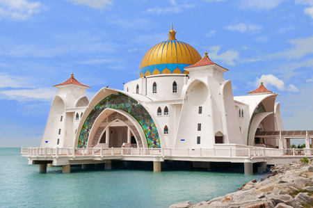 Malacca Straits Mosque ( Masjid Selat Melaka) It is a mosque located on the man-made Malacca Island near Malacca Town. Malaysia