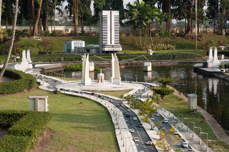 democracy monument: PATTAYA, THAILAND - JAN 04, 2014: - Democracy monument in Mini Siam Park. Mini Siam is a famous miniature park attraction. It had been constructed in 1986