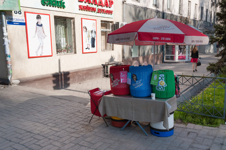 kyrgyz republic: BISHKEK, KYRGYZSTAN - MAY 02, 2014: Sale of national drinks on the street. Bishkek formerly  Frunze, is the capital and the largest city of the Kyrgyz Republic.  The population - 900,000 people