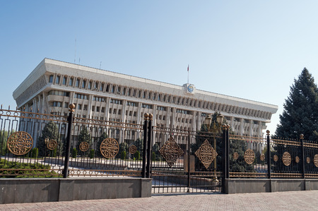 kyrgyz republic: BISHKEK, KYRGYZSTAN - MAY 02, 2014:  White House - Parliament Building. Bishkek formerly  Frunze, is the capital and the largest city of the Kyrgyz Republic.  The population - 900,000 people