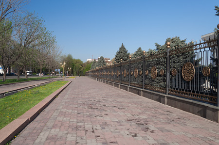 kyrgyz republic: BISHKEK, KYRGYZSTAN - MAY 02, 2014:  Street near White House (Parliament Building). Bishkek formerly  Frunze, is the capital and the largest city of the Kyrgyz Republic.  The population - 900,000 people