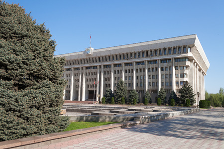 BISHKEK, KYRGYZSTAN - MAY 02, 2014:  White House - Parliament Building. Bishkek formerly  Frunze, is the capital and the largest city of the Kyrgyz Republic.  The population - 900,000 people