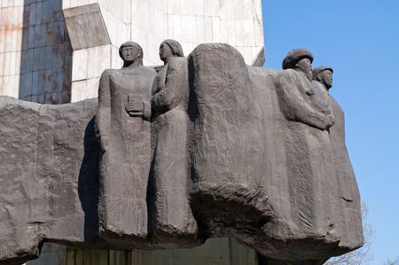 kyrgyz republic: BISHKEK, KYRGYZSTAN - MAY 02, 2014:  Peoples Friendship Monument in honour of the 100th anniversary of Kyrgyzstans entry to Russia. Bishkek formerly  Frunze, is the capital and the largest city of the Kyrgyz Republic.  The population - 900,000 people Editorial