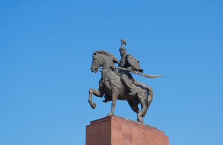 kyrgyz republic: BISHKEK, KYRGYZSTAN - MAY 02, 2014:  Monument Epic of Manas on Ala-Too Square. Bishkek formerly  Frunze, is the capital and the largest city of the Kyrgyz Republic.  The population - 900,000 people