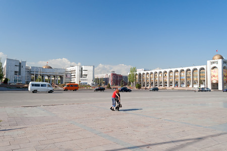 kyrgyz republic: BISHKEK, KYRGYZSTAN - MAY 02, 2014:  Building in oriental style near Ala-Too Square. Bishkek formerly  Frunze, is the capital and the largest city of the Kyrgyz Republic.  The population - 900,000 people