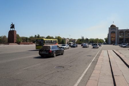 kyrgyz republic: BISHKEK, KYRGYZSTAN - MAY 02, 2014:  Chui avenue near Ala-Too Square. Bishkek formerly  Frunze, is the capital and the largest city of the Kyrgyz Republic.  The population - 900,000 people