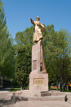 kyrgyz republic: BISHKEK, KYRGYZSTAN - MAY 02, 2014: Monument to Panfilov, general. Bishkek formerly  Frunze, is the capital and the largest city of the Kyrgyz Republic.  The population - 900,000 people