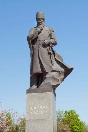 BISHKEK, KYRGYZSTAN - MAY 02, 2014: Monument to Shabdan Baatyr (Shabdan Djantaev). Bishkek formerly  Frunze, is the capital and the largest city of the Kyrgyz Republic.  The population - 900,000 people