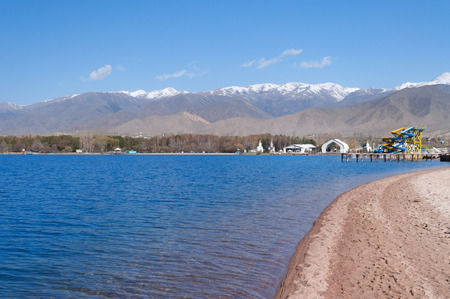 Architectural complex on bank of Issyk-Kul Lake. Cholpon-Ata. Kyrgyzstan Stok Fotoğraf