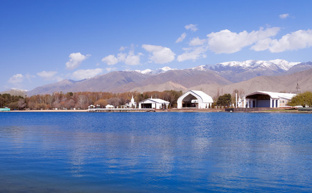 Architectural complex on bank of Issyk-Kul Lake. Cholpon-Ata. Kyrgyzstan Stok Fotoğraf - 31006061