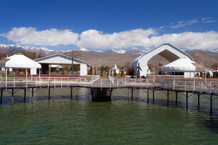 CHOLPON ATA, KYRGYZSTAN - MAY 03, 2014: Ruh Ordo cultural complex near Issyk Kul lake. Ruh Ordo named after Ch. Aytmatov was founded in 2002 at the sacred place Editöryel