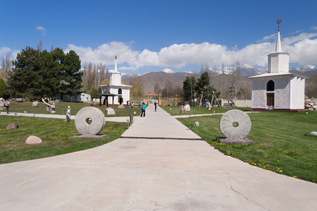 issyk kul: CHOLPON ATA, KYRGYZSTAN - MAY 03, 2014: Ruh Ordo cultural complex near Issyk Kul lake. Ruh Ordo named after Ch. Aytmatov was founded in 2002 at the sacred place Editorial