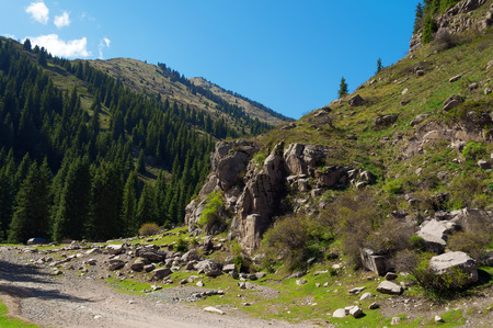 issyk kul: Grigorevsky gorge (Chon-Ak-Suu gorge) is situated in 60 kilometers from Cholpon-Ata city. Grigorevsky gorge is considered one of the most picturesque gorges in Issyk Kul area. Stock Photo