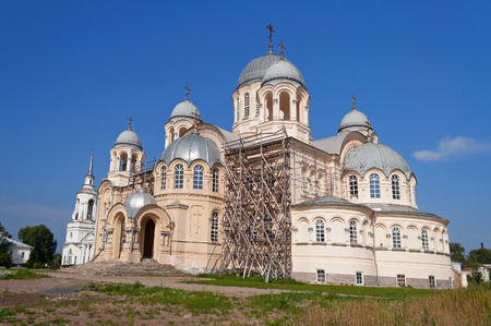 exaltation: Holy Cross Cathedral Mans Piously-Nikolaev monastery. Verkhoturye. Sverdlovsk region. Russia. Stock Photo