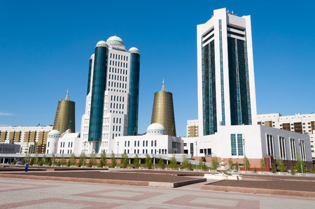 administrative buildings: ASTANA, KAZAKHSTAN - MAY 10, 2014: Modern buildings on Water-Green Boulevard, Nurzhol Boulevard is the national boulevard of Kazakhstan, a pedestrian area in the new business and administrative centre on the left bank of Ishim river