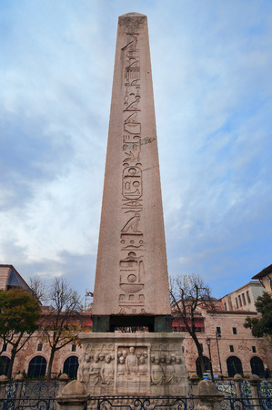 Obelisk of Theodosius (Egyptian Obelisk) in Hippodrome of Constantinople, Sultanahmet Square. Istanbul.  Turkey photo