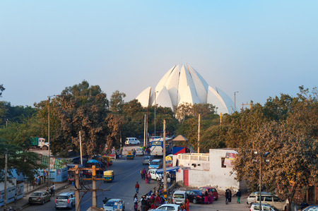 house of worship: NEW DELHI, INDIA, DEC - 5, 2014: View of Lotus Temple (Bahai House of Worship) from metro station. The Temple is visited by over four million people annually. It is located on Bahapur Hills