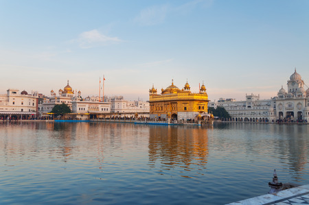 harmandir sahib: Golden Temple (Harmandir Sahib also Darbar Sahib) in the early morning. Amritsar. Punjab. India Stock Photo