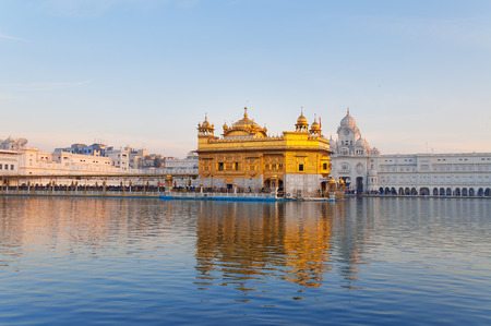 gurudwara: Golden Temple (Harmandir Sahib also Darbar Sahib) in the early morning. Amritsar. Punjab. India Stock Photo