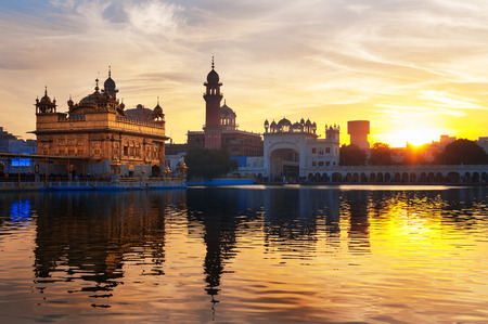 gurdwara: Golden Temple (Harmandir Sahib also Darbar Sahib) in the early morning at sunrise. Amritsar. Punjab. India
