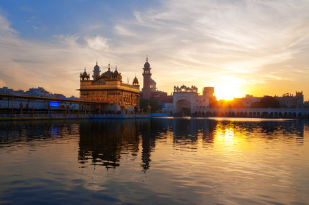 darbar: Golden Temple (Harmandir Sahib also Darbar Sahib) in the early morning at sunrise. Amritsar. Punjab. India