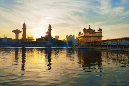 harmandir sahib: Golden Temple (Harmandir Sahib also Darbar Sahib) in the early morning at sunrise. Amritsar. Punjab. India