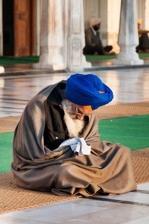 darbar: Amritsar, India, dicembre - 7, 2014: non identificato Sikh uomo che prega in Golden Temple (Harmandir Sahib anche Darbar Sahib) la mattina presto. Golden Temple � il pi� sacro Sikh Gurdwara situato nella citt� di Amritsar, Punjab, India.