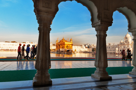 gurdwara: AMRITSAR, INDIA, DEC - 7, 2014: Golden Temple (Harmandir Sahib also Darbar Sahib). Golden Temple is the holiest Sikh gurdwara located in the city of Amritsar, Punjab, India. Editorial