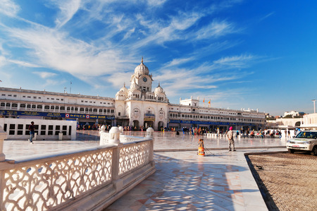 AMRITSAR, INDIA, DEC - 7, 2014: Entrance of Golden Temple (Harmandir Sahib also Darbar Sahib). Golden Temple is the holiest Sikh gurdwara located in the city of Amritsar, Punjab, India.