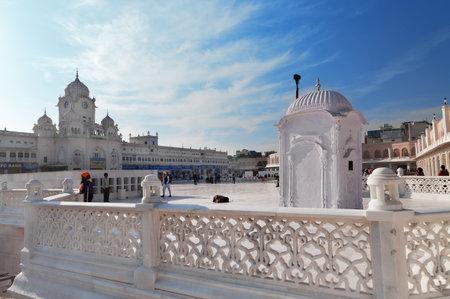 gurdwara: AMRITSAR, INDIA, DEC - 7, 2014: Entrance of Golden Temple (Harmandir Sahib also Darbar Sahib). Golden Temple is the holiest Sikh gurdwara located in the city of Amritsar, Punjab, India.