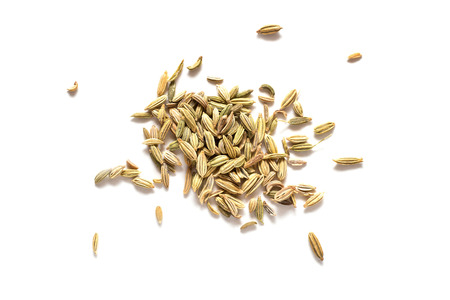 fennel seeds: Pile of Fennel seeds isolated on white background