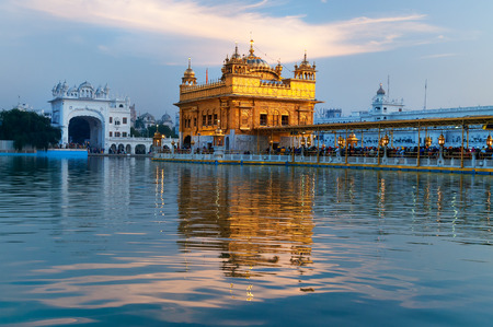harmandir sahib: Golden Temple (Harmandir Sahib also Darbar Sahib) in the evening. Amritsar. Punjab. India Stock Photo
