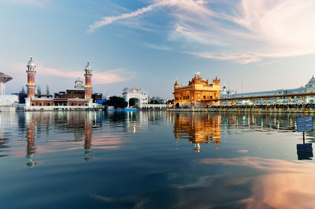 Golden Temple (Harmandir Sahib also Darbar Sahib) in the evening. Amritsar. Punjab. India Stock Photo