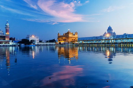monument in india: Golden Temple (Harmandir Sahib also Darbar Sahib) in the evening at sunset. Amritsar. Punjab. India