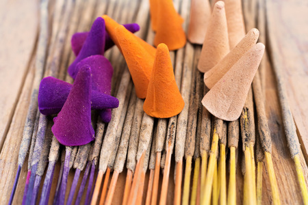 incense sticks: Colorful incense sticks and incense cones