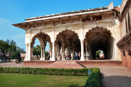 mughal architecture: Diwan I Am, Hall of Public Audience in Red Agra Fort. Agra, Uttar Pradesh, India Stock Photo