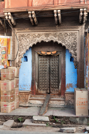 view of a wooden doorway: Beautiful gates in house in Agra. Uttar Pradesh. India