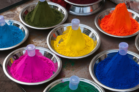 Color powder on the indian market in Orchha. India