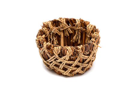 homeware: Empty wicker food tray isolated on white background Stock Photo